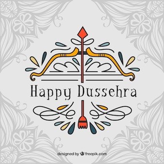 Hand drawn traditional dussehra composition