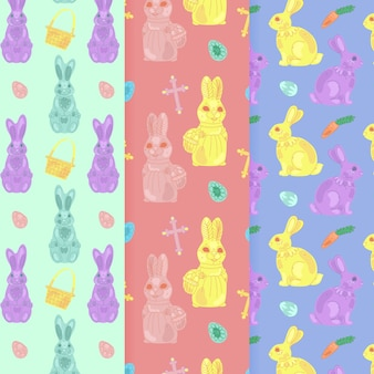 Hand drawn traditional easter day pattern collection