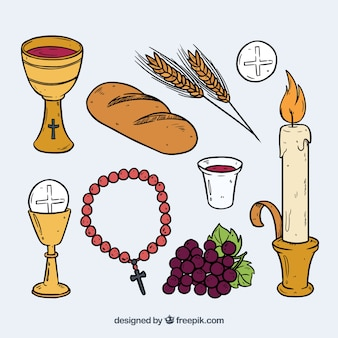 Hand-drawn traditional first communion elements
