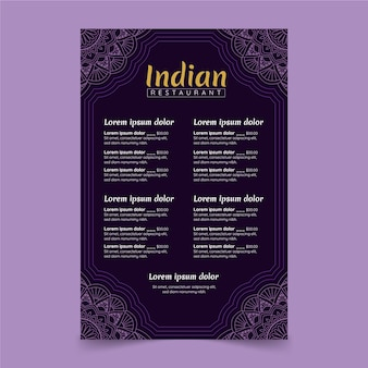手描きの伝統的なインド料理レストランメニューテンプレート