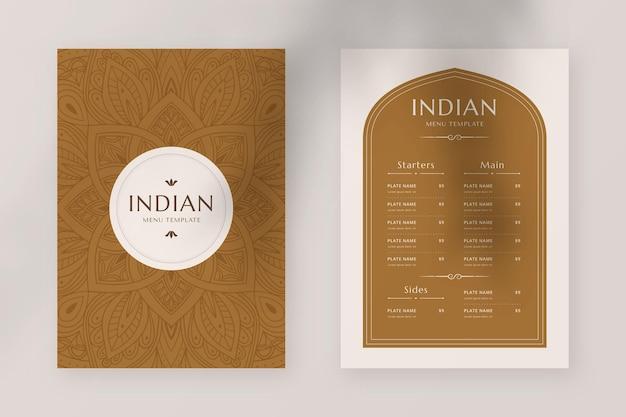 Hand drawn traditional indian restaurant menu template