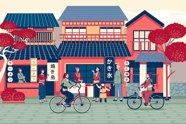 Нарисованная рукой традиционная улица японии с людьми на велосипедах
