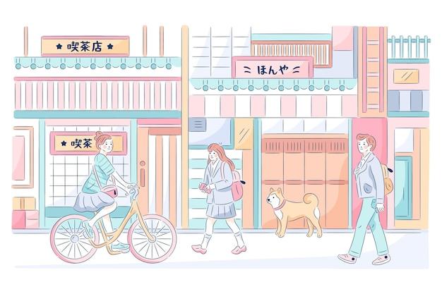 손으로 그린 전통 일본 거리