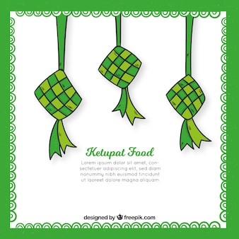 Hand drawn traditional ketupat composition