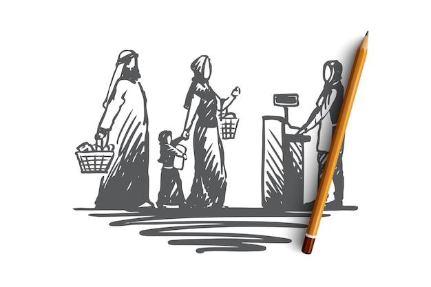手描きショッピング概念スケッチの伝統的なイスラム教徒の家族