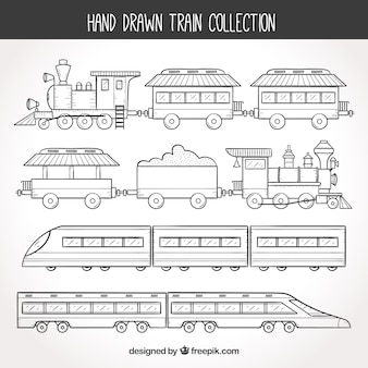 Collezione di treni disegnati a mano