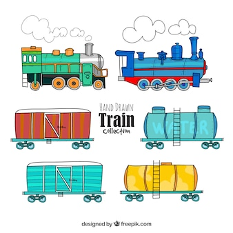 Hand drawn train collection