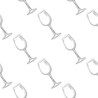 Hand drawn transparent glassware seamless pattern illustration