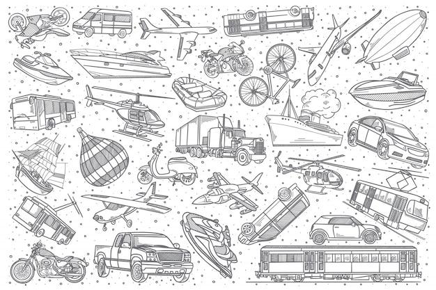 Hand drawn transport doodle set.