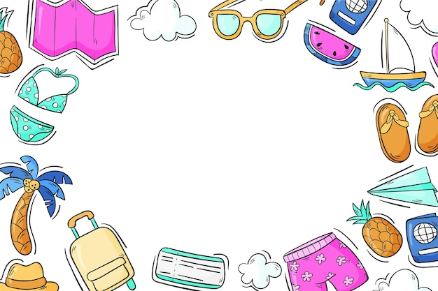 Hand drawn travel background with elements