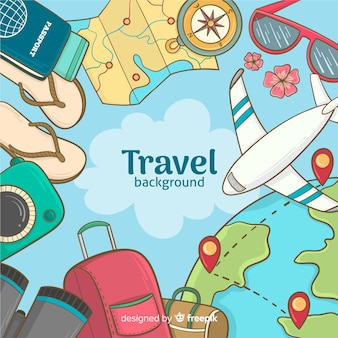 Hand drawn travel background