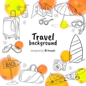 Hand drawn travel background