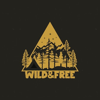 Hand drawn travel badge with camp tent, mountains, pine trees forest.