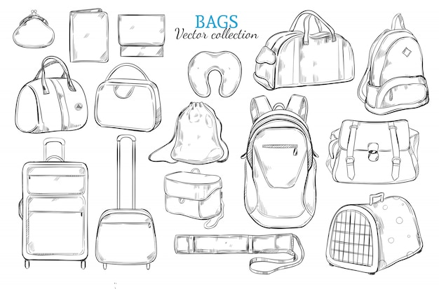 Hand drawn travel bags set