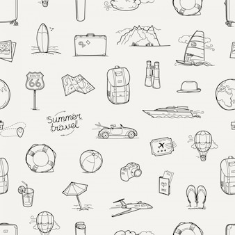Hand drawn travel doodles seamless pattern