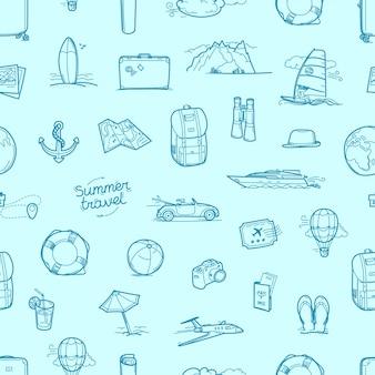 Hand drawn travel doodles seamless