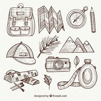 Collezione di elementi di viaggio disegnati a mano