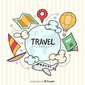 Hand drawn travel elements background