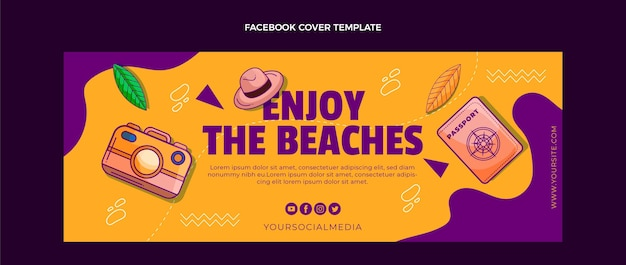 Hand drawn travel facebook cover