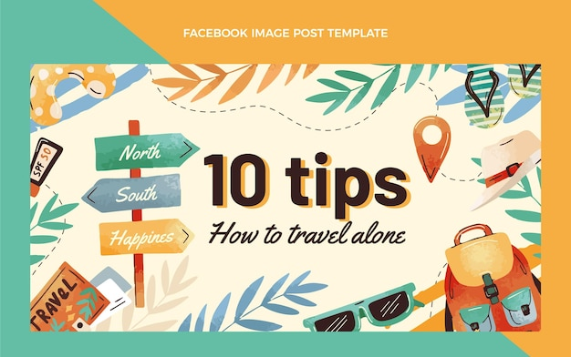 Hand drawn travel facebook post