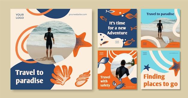 손으로 그린 여행 인스 타 그램 포스트 컬렉션