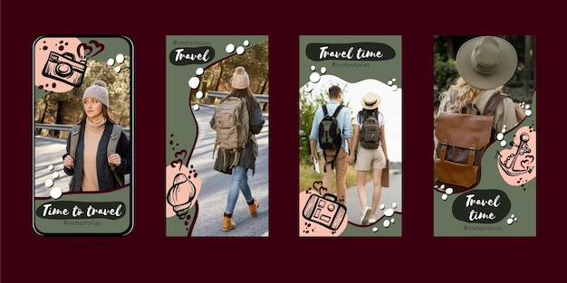 Hand drawn travel instagram story collection