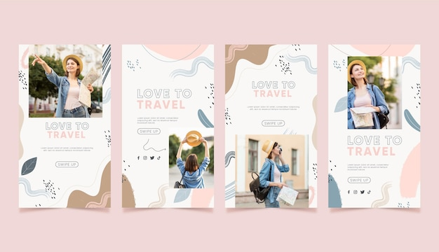 Hand drawn travel instagram story pack