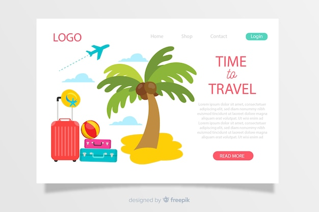 Hand drawn travel landing page template