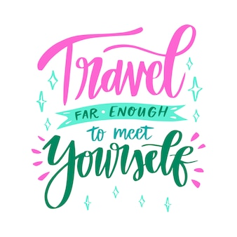 Hand drawn travel lettering background