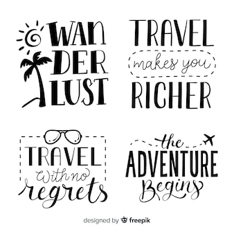 Hand drawn travel lettering badges