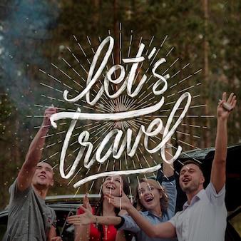 Ручной обращается туристическая надпись с фотографией