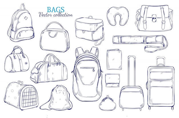 Hand drawn travel luggage set