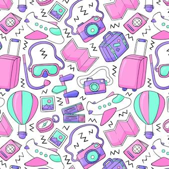 손으로 그린 여행 패턴 디자인