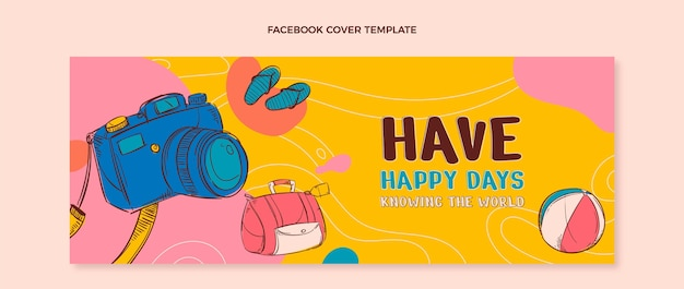 Hand drawn travel social media cover template