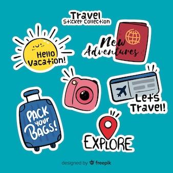 Коллекция рисованной путешествия стикер
