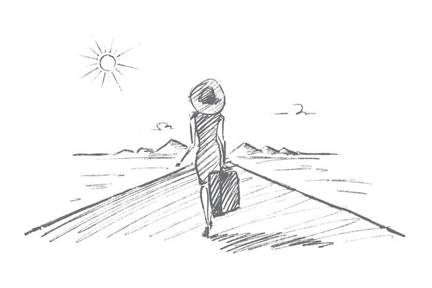Рисованной эскиз концепции времени в пути