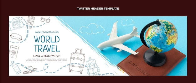 Нарисованный рукой заголовок твиттера путешествия