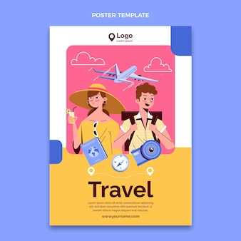 Hand drawn travel vertical poster template