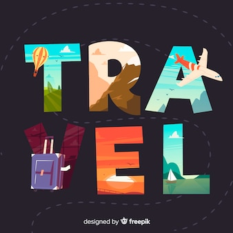 Hand drawn travel word background
