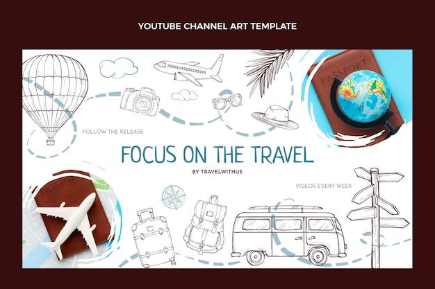 손으로 그린 여행 유튜브 채널 아트