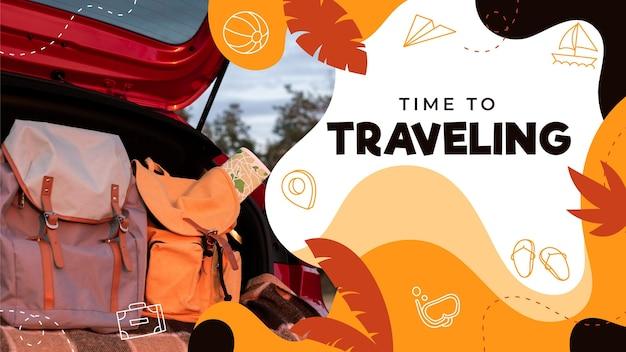 Нарисованный рукой шаблон эскиза youtube путешествия