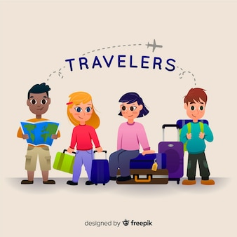 Hand drawn traveler kids collection