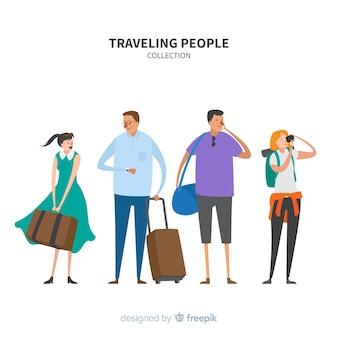 Set di viaggiatori disegnati a mano