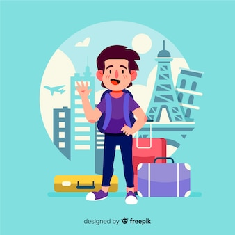 Hand drawn traveling boy waving