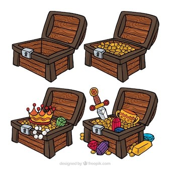 Hand drawn treasure box collection