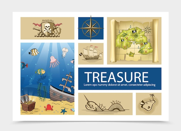 Hand drawn treasure composition with skull and crossbones sign old compass ship pirate map sea monster island chest on sea bottom