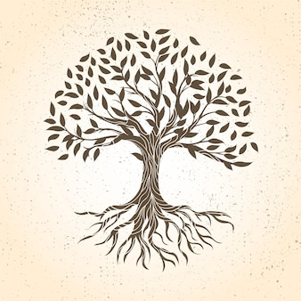 갈색 그늘에서 손으로 그린 나무 생활
