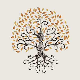 Hand drawn tree life with autumn leaves