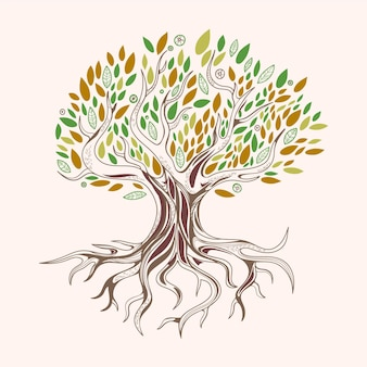Hand drawn tree life with green and brown leaves