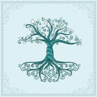 손으로 그린 된 나무 생활